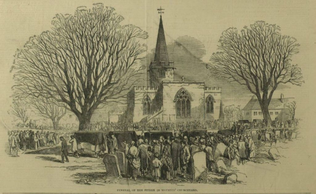 Funeral of the Pitmen in Worsbro Churchyard.