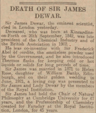 James Dewar obituary