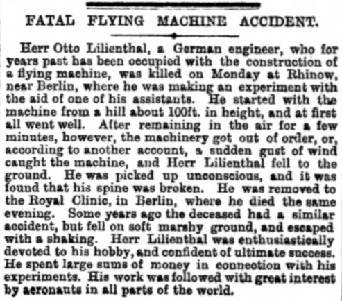 Fatal flying machine accident
