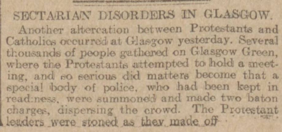 Sectarian Disordersin Glasgow Aberdeen Press and Journal - Monday 19 June 1905