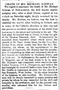 The Evening Freeman 1 April 1867 Michael Freeman death