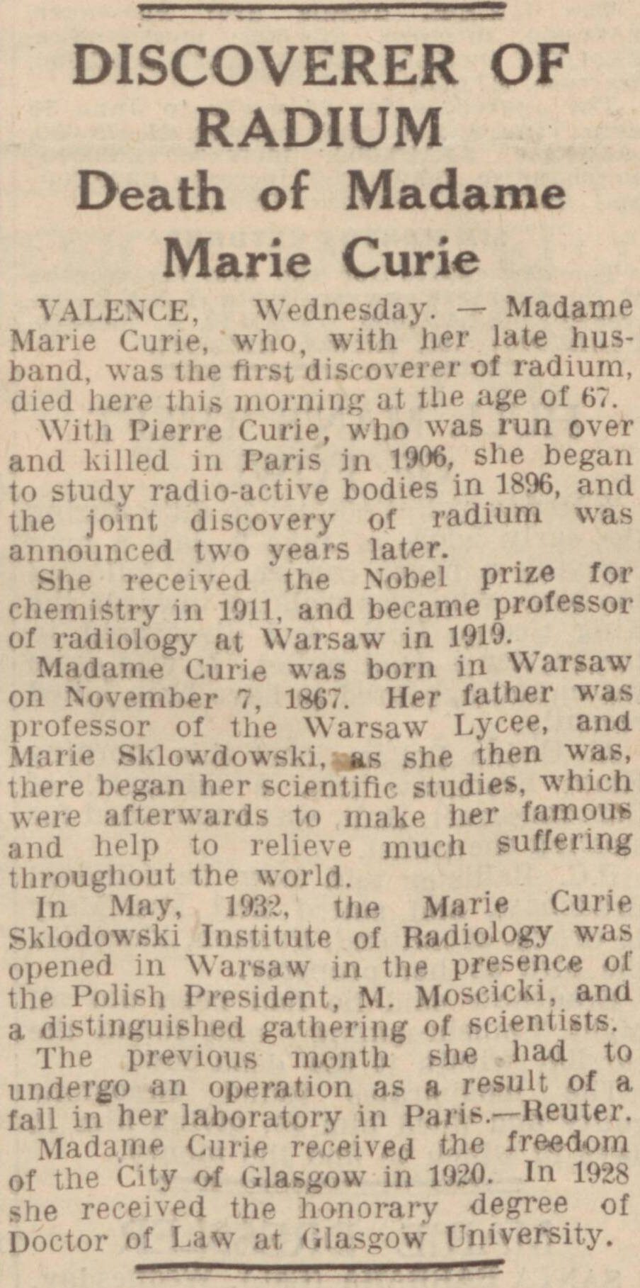 Notice of Marie Curie's death