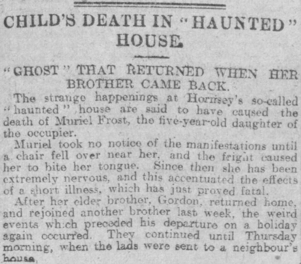 Child's death in haunted house