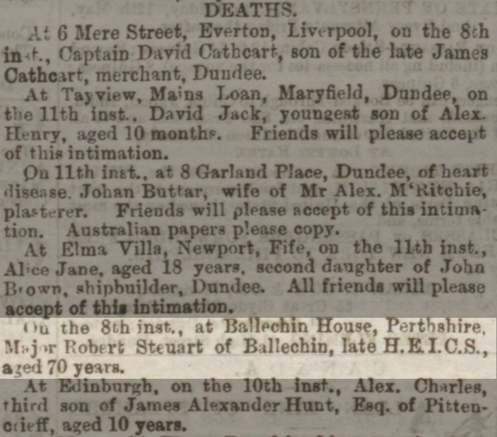 Robert Steuart death notice