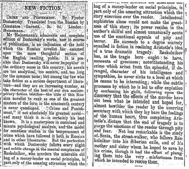 1914 review of Crime and Punishment