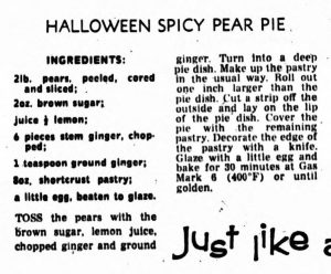 Halloween spicy pear pie