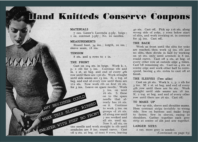 Hand knitteds conserve coupons