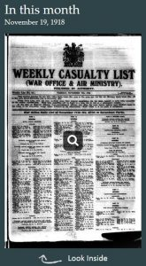 Weekly Casualty List (War Office & Air Ministry)