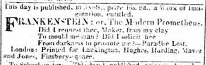 Notice of Frankenstein publication, 1818