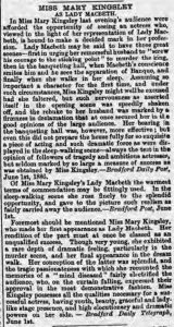 Review of the performance of Mary Kingsley
